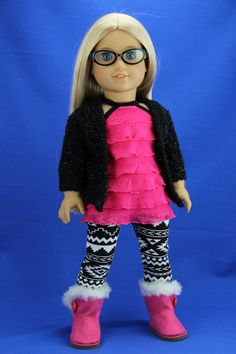 Handmade 18 inch doll clothes - Black and pink 4 piece cardigan outfit  (401black) by DolliciousClothes on Etsy