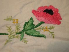 "Vintage 34""X 34"" Hand Embroidered Linen Tablecloth Anemones Poppies Flowers"