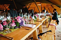 Visit Hitched for the ultimate guide to tipi and marquee venues, including plenty of rustic decor inspiration and the best tipi hire companies! Table Flower Arrangements, Table Flowers, Tipi Wedding, Rustic Wedding, Wedding Decor, Rustic Theme, Rustic Decor, Home Wedding Inspiration, Wedding Ideas