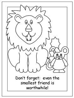 Printables The Lion And The Mouse Worksheets the lion and mouse coloring page fables activities mouse