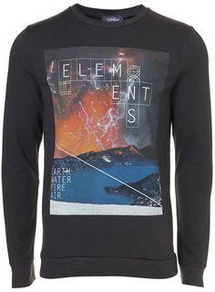 Black Elements Print Sweatshirt Printed Sweatshirts, Men's Fashion, Asos, Clothing, Mens Tops, Shopping, Collection, Black, Design