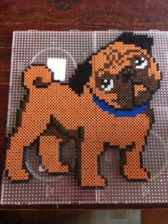 Pug dog hama perler beads by Dorte Marker Perler Bead Designs, Perler Bead Templates, Hama Beads Design, Diy Perler Beads, Fuse Bead Patterns, Perler Patterns, Beading Patterns, Pugs, 8bit Art
