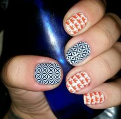 The possibilities are endless! This is 'Trunk Show' with 'So Fresh' layered over a dark blue nail polish. Style at your fingertips! ~Jamberry Nail Wraps~