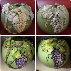 Glass Bottle Crafts, Bottle Art, Vase Crafts, Clay Crafts, Ceramic Flowers, Clay Flowers, Pottery Painting, Pottery Art, Diy Air Dry Clay