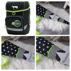 Schultüten - Schultüte aus Stoff, Schwarz-Neongrün - ein Designerstück von Nadelglueck bei DaWanda Gym Bag, Toms, School Kids, Entering School, School, Black