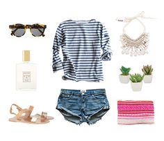 weekend essentials - saint james striped shirt, one teaspoon jean shorts, ancient greek sandals, @LoveBirdsLa clutch, @figue shell and pom pom necklace, Illesteva sunglasses