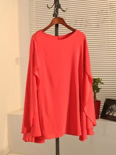 Orange Round Neck Split Sleeve Chiffon Dress