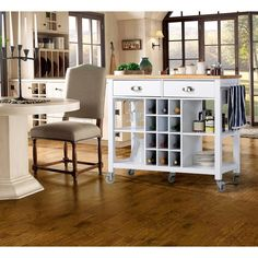 41 in. W MDF Mobile Kitchen Cart with 2-Drawer in White-ZH1411891W - The Home Depot