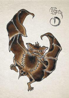 Traditional Japanese Tattoos, Asian Tattoos, Irezumi, Storyboard, Bats, Japanese Art, Blackwork, Graphic Illustration, Book Art