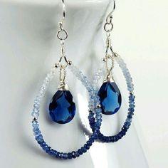 Earrings Diy Earrings : Shaded Blue Sapphire Kashmir Blue Quartz and Sterling Silver Teardrop Earrings Wire Jewelry, Jewelry Crafts, Beaded Jewelry, Jewelery, Handmade Jewelry, Gold Jewelry, Earrings Handmade, Earrings Crafts, Beaded Necklace