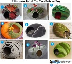 9 Gorgeous Felted Cat Cave Beds on Etsy http://www.floppycats.com/9-gorgeous-felted-cat-cave-beds-on-etsy.html