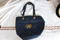 Versace bag with logo brooch (blue)