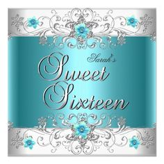 Sweet Sixteen 16 Birthday Party Teal Blue Diamond Card