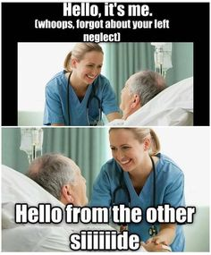 #physiohumor #physiojokes #funny #tuesdayhumor Hemi- neglect is a common and disabling condition following brain damage in which patients fail to be aware of items to one side of space. Neglect is most prominent and long-lasting after damage to the right hemisphere of the human brain particularly stroke. Such individuals with right-sided brain damage often fail to be aware of objects to their left demonstrating neglect of leftward items. #hemineglect #stroke #brain #righthemisphere…