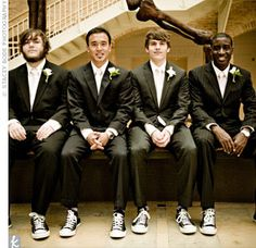 My bf asked specifically if he could wear a pair of converse with his tux at our wedding. The guy on the end kinda looks like him ironically! Men's Wedding Shoes, Prom Shoes, Wedding Suits, Dream Wedding, Wedding Sneakers, Wedding Converse, Wedding Men, Wedding Attire, Chambelan
