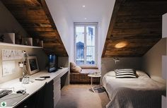 Image via We Heart It #attick #bedroom #interiordesign #small #window #work-room