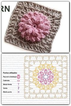 #haken, gratis teltekening, haakschema, granny square met puff steek bloem, #haakpatroon, #crochet, free chart, diagram, granny square with puff stitch flower