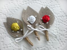 Items similar to Burlap Groom's Boutonniere for Wedding Rustic Bout with custom color Flower on Etsy Boutonnieres, Burlap Boutonniere, Shabby Chic Cards, Rustic Shabby Chic, Burlap Flowers, Silk Flowers, Burlap Crafts, Diy And Crafts, Chic Wedding
