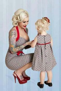 Must learn to sew so I can make mother daughter pin up style clothing. Mine doesn't even have to be a sexy one. It can be both swing dresses. Mother Daughter Matching Outfits, Mommy And Me Outfits, Mom Daughter, Mother Daughter Fashion, Mother Daughters, Pin Up Outfits, Mothers, Rockabilly Mode, Rockabilly Fashion