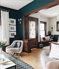 The 7 Best Neutral Paint Colours to Update Dark Wood Trim Craftsman Living Rooms, Teal Living Rooms, Craftsman Interior, Home Living Room, Living Room Decor, Living Spaces, Dark Wood Living Room, Craftsman Home Decor, Bungalow Living Rooms