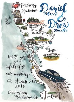Destination Wedding Map California Coast Pacific Ocean Highway 1 Coastal Wedding Calligraphy & Watercolor Pigment and Parchment Wedding Invitation