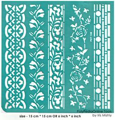 """Stencil Stencils Templates """"Geo Roses Borders"""" 6 inch/15 cm, self-adhesive, flexible, for polymer clay, fabric, wood, glass, card making"""
