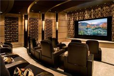 Contemporary (Modern, Retro) Media Room with home theater seating by Lori Carroll @LCAssociates