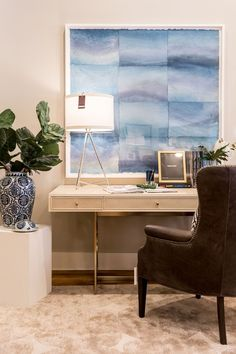 Statement artwork in front of work space to keep your creativity alive! Designed by Alice Lane Home Photo by Lindsay Salazar