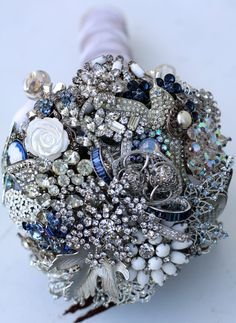Brooch Bouquet Silver and Blue by baublesandbrides on Etsy