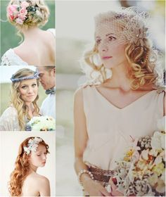romantic curly wedding hairstyle with flower by clip on curly remy hair extensions