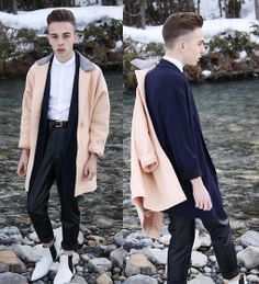 American Apparel Pastel Petite Long Wool Coat, Babaton Blazer, American Apparel Vegan Leather Pants, Zara Boots, Topman Button Up