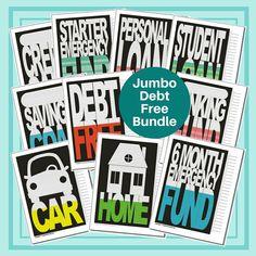 Jumbo Debt Free Bundle - Charts for Emergency Fund, Student Loan, Savings, and Debts Debt Snowball, Challenge, Student Loan Debt, Debt Free, Age, Blank Cards, Free Charts, Etsy, Money
