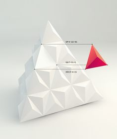 Cutting edge technology was used to extract a single tetrahedral cell from a tetrahedral pyramid. After prolonged experiments with multiplication and mutation of the cell, the Trivalent pattern was finally created.