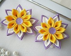Artículos similares a Par de plantilla de Flor Kanzashi arcos chicas pelo clips-comprar en Reino Unido, envío a todo el mundo - presente primavera regalo de Pascua en Etsy