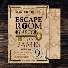 Escape Room Birthday Invitation, Escape Room Invite, Escape Room Invitation, Escape Room Party, Mystery Birthday Invite, Mystery Invitation