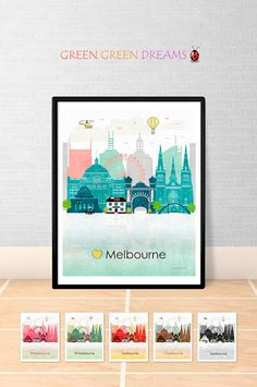 Melbourne print poster Wall art Melbourne skyline Australia Victoria VIC City poster Printable download Home Decor Digital GreenGreenDreams