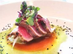 Get Seared Ahi Tuna with Asian Slaw Recipe from Food Network Slaw Recipes, Fish Recipes, Gourmet Recipes, Healthy Recipes, Healthy Meals, Chef Dishes, Seared Tuna, Asian Slaw, Food Presentation