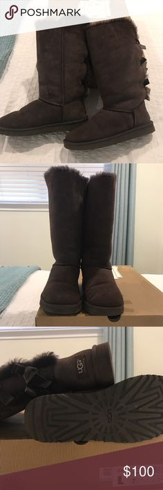 Uggs Brown Bailey bow Brown Bailey Bow Uggs barely worn uggs Shoes Winter & Rain Boots