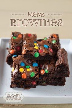 M&M Brownies - Sugary Sweets TRIED -- used cherry cordial m&ms, so good M M Brownies, Chocolate Brownies, Chewy Brownies, Dessert Chocolate, Skinny Cheesecake, Baking Recipes, Dessert Recipes, Candy Cakes, Brownie Bites