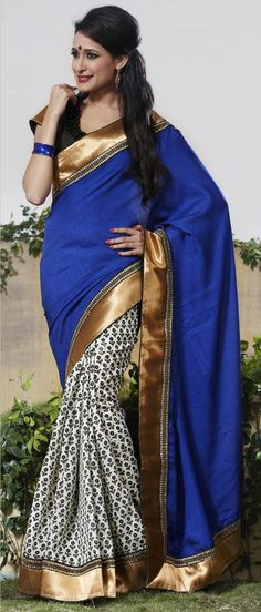 Royal #Blue and Off #White Art #Silk #Saree With Blouse @ $ 93.75