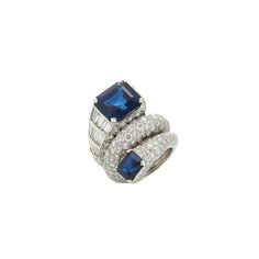 Engagement Rings – David Webb sapphire and diamond ring in white gold and platinum, price upon request