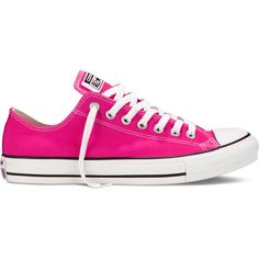 Converse Chuck Taylor All Star Fresh Colors – pink glo Sneakers ($50) ❤ liked on Polyvore featuring shoes, sneakers, converse, pink, pink glo, pink sneakers, converse sneakers, low profile sneakers, star shoes and pink shoes