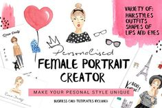 Woow How AMAZING is this set!!!! Personalised female portrait creator by SoNice on @creativemarket