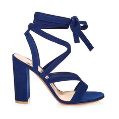 Gianvito Rossi Janis suede sandals (€670) ❤ liked on Polyvore featuring shoes, sandals, blue, ankle strap sandals, wrap sandals, blue suede sandals, blue evening shoes and strap sandals