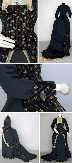 Embroidered visiting dress, ca. 1870s. Black silk faille & black silk satin, satin with narrow velvet stripe embroidered with wine, brown, & blue flowers. Polonaise bodice, cut steel buttons & lace, blue satin modesty insert, trained bustle skirt. Augusta Auctions