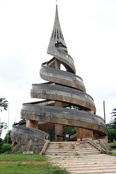 Reunification Monument in Younde, Cameroon. The twin spirals symbolise the unification of the French and British Cameroons.