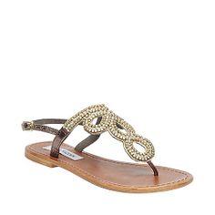 $52 GOLDRUSH NATURAL MULTI women's sandal flat thong - Steve Madden