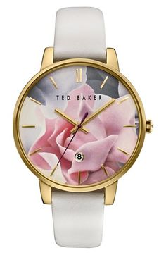 Free shipping and returns on Ted Baker London Leather Strap Watch, 40mm at Nordstrom.com. A colorful floral dial imbues a classic round watch with a touch of Ted Baker London's trademark whimsy. Simple stick indexes mark the hours, while a smooth leather strap completes the charming design.