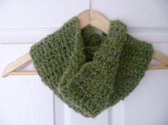Crochet Green Cowl Soft Green Mohair Crochet by MeeMeesCreations, £20.00