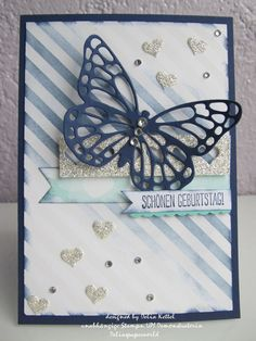 Stampin' Up! ... hand crafted Butterfly Birthday Card ... blues ... die cut butterfly ... luv the hearts punched from silver glimmer paper ...